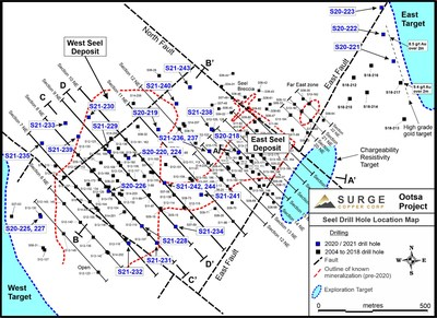 Figure 1. Plan map of drill hole locations for 2020-2021 Ootsa drill program.
